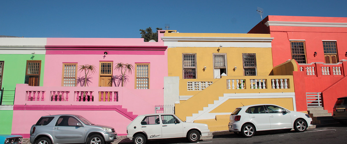 Colorful houses and cars in bo-kaap suburb in Cape Town